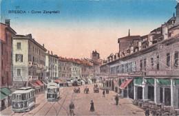 BRESCIA - CORSO ZANARDELLI - FILOBUS / TRAM - SALA BILIARDI E INSEGNA PUBBLICITARIA BIRRA WUHRER - 1918 - Brescia