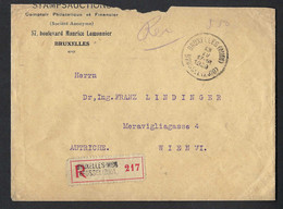 Envoi Recommandé De Belgique Vers L'Autriche. 1929. Roi Albert. - Covers & Documents
