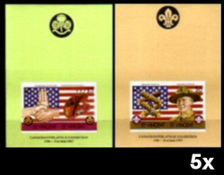 BULK: 5 X ST.VINCENT 1986 Scouting US Flag Art Mrs And Mr Baden Powell IMPERF.sheetlets:2 - St.Vincent (1979-...)
