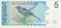 BILLETE DE CURAÇAO DE 5 GULDEN DEL AÑO 1986  (BANK NOTE) PAJARO-BIRD - Netherlands Antilles (...-1986)