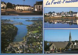 CPM - FINISTERE - LA FORET FOUESNANT - LA PLACE - L'EGLISE PAROISSIALE ET L'ANSE DE PORT LA FORET - La Forêt-Fouesnant