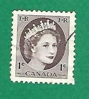 1954 N° 267 ELIZABETH II  1 C.  OBLITÉRÉ - Usados