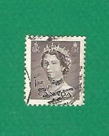 1953 N° 260a B DENTELÉE 12 VERTICALE  ELIZABETH II  1 C.  OBLITÉRÉ - Usados