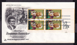 USA United States 1980 Benjamin Banneker (1731-1806), Astronomer And Mathematician First Day Covers FDC - 1971-1980