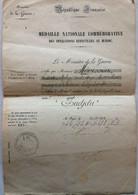 FRANCE MEDAILLE COMMEMORATIVE MAROC OUJDJA 1913 D'UN MEDECIN MAJOR - Documenten