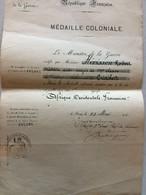 FRANCE MEDAILLE COMMEMORATIVE COLONIALE AOF 1911 D'UN MEDECIN MAJOR - Documenten