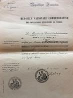 FRANCE MEDAILLE COMMEMORATIVE MAROC 1910 D'UN MEDECIN MAJOR - Documenten