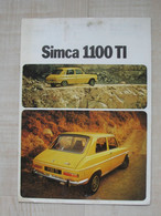 SIMCA 1100 TI - 16 Pages  - Format 21 X 29.7   **** EN ACHAT IMMEDIAT **** - Pubblicitari