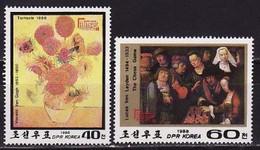 North Korea, 1988, Van Gogh Painting, Chess, 2 Stamps - Impressionisme