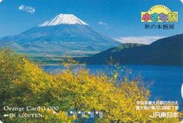 Carte Orange JAPON - Paysage - MONT FUJ & Lac - Landscape Mountain & Lake - JAPAN Prepaid JR Card  - 374 - Montagne
