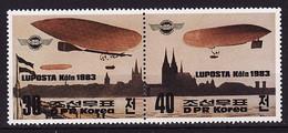 North Korea, 1983, Airships, 2 Stamps - Airships