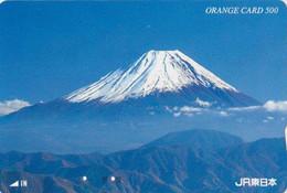 Carte Orange JAPON - Paysage - MONT FUJ - Landscape Mountain - JAPAN Prepaid JR Card  - 376 - Montagne