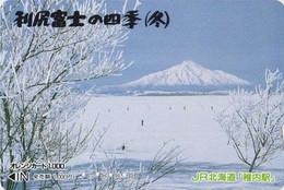 Carte Orange JAPON - Paysage - MONT  Fuji - Winter Landscape Mountain - JAPAN Prepaid JR Card  - 379 - Montagne