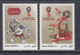 2018 Lebanon Liban World Cup Football Russia   Complete Set Of  2 MNH - Lebanon
