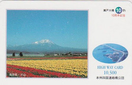 Carte Prépayée JAPON - MONT Fuji & Fleur Champ De Tulipes - Mountain & Tulip Flower JAPAN Prepaid Card  - HW 382 - Montagne