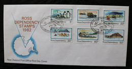 Ross Dependency DL15-20 Penguins Travel Buildings More Efinitives Day Of Issue Cancel 1982 A04s - Covers & Documents
