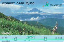 Carte Prépayée JAPON - MONT Fuji  & Fleur Lupin - Mountain & Flower JAPAN Prepaid Card  - HW 383 - Montagne