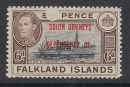 "Falkland Islands, Scott 4L6 (SG C6), MNH ""Confetti Flaw"" Variety - Falkland"
