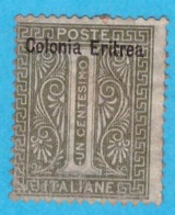 ERI273 ERITREA 1893 FBL D'ITALIA SOPRASTAMPATO CENT 1 SASSONE NR 1 NUOVO MLH * - Eritrea