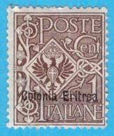 ERI274 ERITREA 1903 FBL D'ITALIA SOPRASTAMPATO CENT 1 SASSONE NR 19 NUOVO MLH * - Eritrea