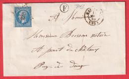N°22 PC DU GC 2223 MARINGUES PUY DE DOME CAD TYPE 15 BOITE RURALE F JOZY POUR PONT DU CHATEAU - 1849-1876: Klassik