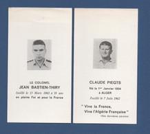 """Image Avis De Décès""""colonel J.B Thiry""""Claude Piegts""""né à Alger Fusillé En 1962"""" Vive La France Vive L'Algérie Française. - Andere"""
