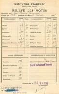 INSTITUT FRANCHOT CHOISY LE ROI 1938 RELEVE DE NOTES - Diplômes & Bulletins Scolaires