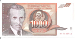 YOUGOSLAVIE 1000 DINARA 1990 AUNC P 107 - Yugoslavia