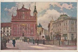 Post Card :  Lublana Ljubljana (Slovenia)  Mariijin Trg.   1924  Stamps - Slovenia