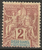 Diego Suarez 1892 Sc 26 Yt 26 MH* Small Thin/some Disturbed Gum - Unused Stamps