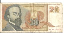 YOUGOSLAVIE 20 NOVIH DINARA 1994 VG+ P 150 - Yugoslavia