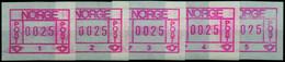 NORWEGEN ATM Nr 1-A1-A5 Postfrisch X13E462 - ATM/Frama Labels