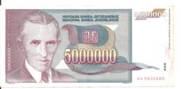 YOUGOSLAVIE 5 MILLION DINARA 1993 VF P 121 - Yugoslavia