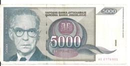 YOUGOSLAVIE 5000 DINARA 1992 VF P 115 - Yugoslavia