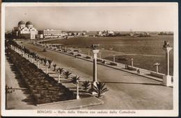 °°° 27344 - LIBYA - BENGASI - VIALE DELLA VITTORIA CON VEDUTA DELLA CATTEDRALE - 1937 With Stamps °°° - Libya