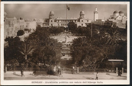 °°° 27346 - LIBYA - BENGASI - GIARDINETTO PUBBLICO CON VEDUTA DELL'ALBERGO ITALIA - 1937 With Stamps °°° - Libya