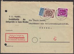 BRD BUND Zustellungsurkunde 1954 Mit Mi.135+125 Posthorn 60 + 5 Pfennig  (23550 - Unclassified