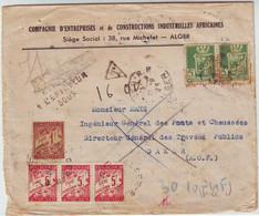 SPECTACULAIRE Lettre Algerie Pour DAKAR Et TAXEE Au SENEGAL Refusee Retour à Alger Et RETAXEE !!!! 1945 - 1921-1960: Période Moderne