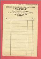 """ALEXANDRIE 1940 EGYPTE FACTURE DE LA GRANDE CHARCUTERIE EPICERIE ET BAR """"NAPOLI"""" M. ZANGAS 20 BLD. SAAD ZAGHLOUL - Autres"""