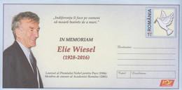 ROMANIA 2016 : ELIE WIESEL - PEACE NOBEL PRIZE, 025/2016, Unused Prepaid Postal Stationery Cover - Registered Shipping! - Interi Postali