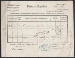Bordereau D'expédition Par Chemin De Fer Càd Hexagon LIEGE (GUILLEMINS) /10 JUIL 1882 Pour Baron De Selys Lonchamps à WA - Fragments & Covers