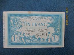 Oran Algerie Chambre Commerce Billet Necessite 1 F - Handelskammer