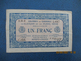 Alencon Flers Chambre De Commerce  Billet De Necessite 1 Fr - Handelskammer