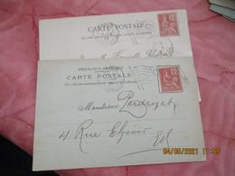 Lot De 2 Flamme  Paris Distribution Flamme Drapeau R F Sur Lettre Timbre 10 - 1877-1920: Periodo Semi Moderno