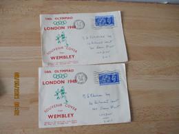 Olympics Games Jeux Olympiques Lot 4 Lettre Jeux De Londres London 1947  Wembley - Summer 1948: London