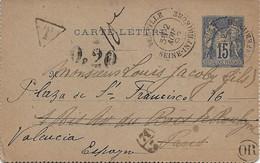 Yerville (Seine-inférieure) : Carte-lettre De Bourdainville, Redirigée Vers Valence (Espagne), Taxe Espagnole, 1892. - 1877-1920: Periodo Semi Moderno