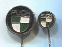Motorbike, Motorcycle, Auto, Fahrrad - PUCH, Vintage Pin, Badge, Abzeichen, 2 Pcs - Motorfietsen