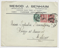 MAROC MOUCHON 10C PAIRE +5C BLANC LETTRE TANGER 12.11.1919 MAROC POUR ITALIE - Covers & Documents