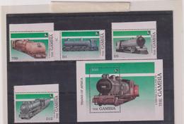 GAMBIE-TRAINS-TP N° 833/836+ BF75-XX-MNH - Gambia (1965-...)