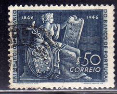 PORTUGAL PORTOGALLO 1946 CENTENARIO BANCO BANK CENTENARY BANCA 50$ USATO USED OBLITERE' - Used Stamps